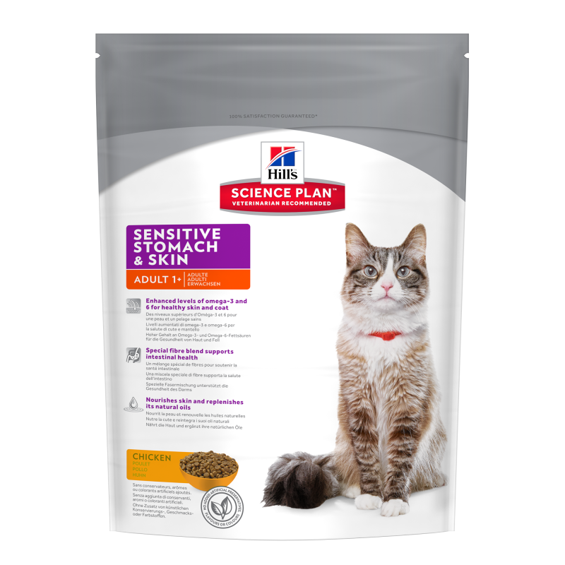 Hill's Science Plan Feline Adult Sensitive Stomach & Skin met Kip 400 g