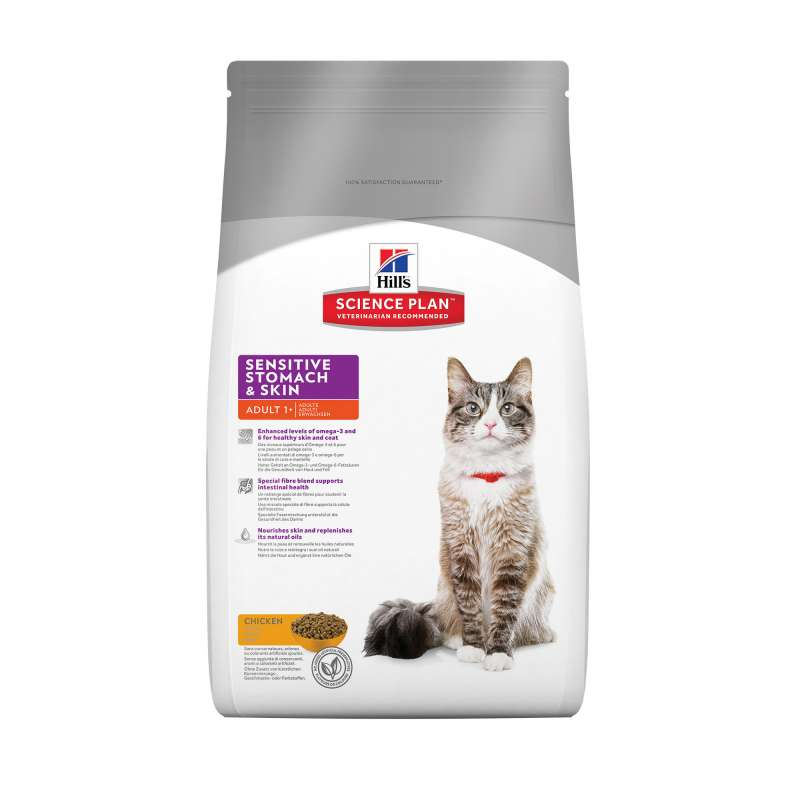Hill's Science Plan Feline Adult Sensitive Stomach & Skin met Kip 5 kg 0052742017228 ervaringen