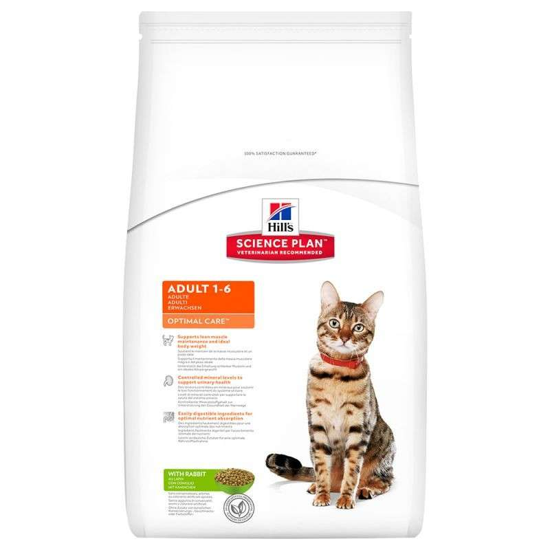 Hill's Science Plan Feline Adult Optimal Care Kanin 10 kg, 15 kg, 2 kg, 400 g, 5 kg kjøp billig med rabatt