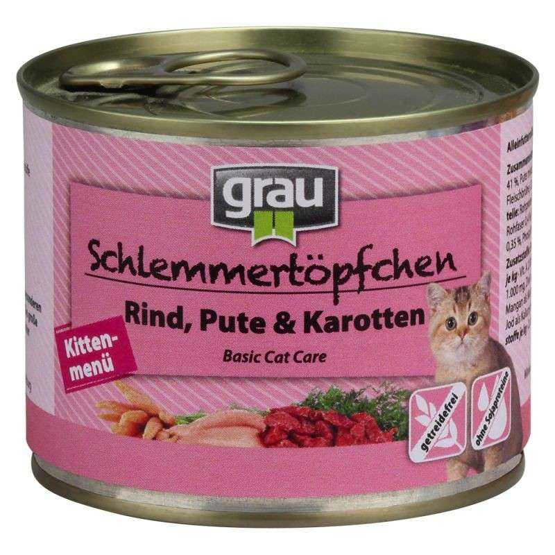 Grau Basic Cat Care Gourmet Kitten - Beef, Turkey & Carrots 400 g, 200 g, 100 g