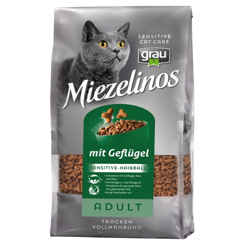 Grau Miezelinos Adult Sensitive-Hairbal with Poultry 400 g, 2.5 kg, 10 kg test