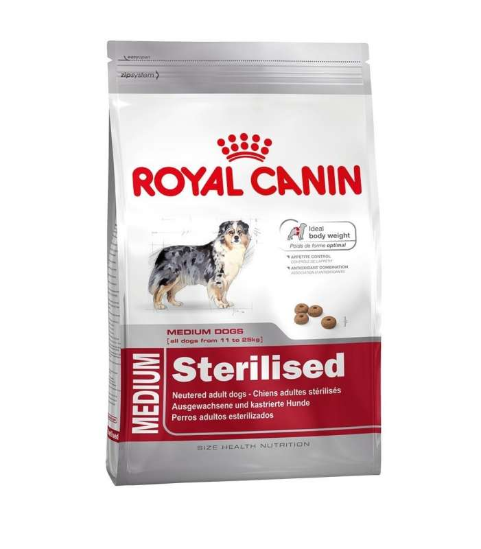 Royal Canin Size Health Nutrition Medium Sterilised 12 kg, 3 kg osta edullisesti