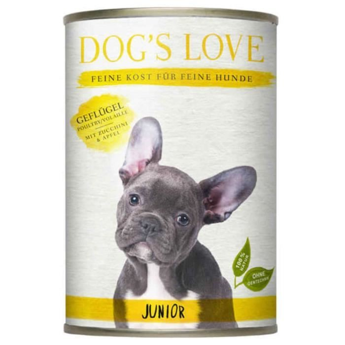 Dog's Love Junior Aves de Corral, sin Cereales 400 g