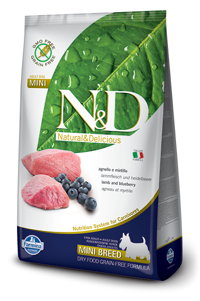 Farmina N&D Grain-Free Adult Mini con Cordero y Arándano 800 g, 7 kg, 2.5 kg