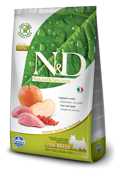 Farmina N&D Grain-Free Adult Mini con Jabalí y Manzana 800 g, 7 kg, 2.5 kg
