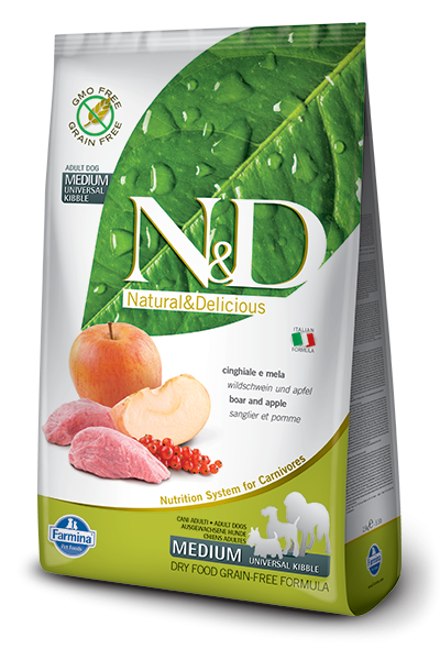 Farmina N&D Grain-Free Boar & Apple Adult Medium 12 kg, 800 g, 7 kg, 2.5 kg