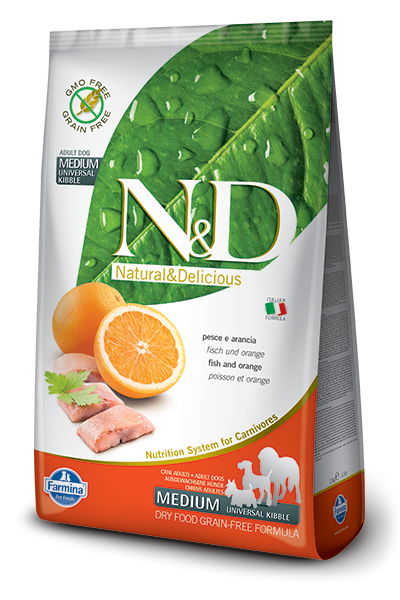 Farmina N&D Grain-Free Adult Medium mit Fisch und Orange 8010276020277