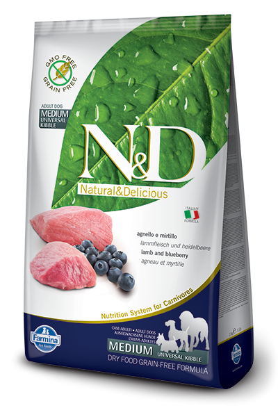Farmina N&D Grain-Free Lamb & Blueberry Adult Medium 12 kg, 800 g, 7 kg, 2.5 kg
