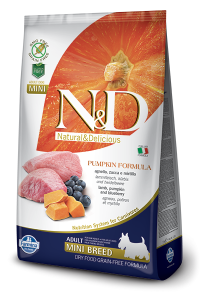 Farmina N&D Pumpkin Adult Mini con Agnello e Mirtillo 2.5 kg, 7 kg, 800 g