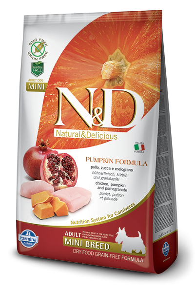 Farmina N&D Pumpkin Chicken & Pomegranate Adult Mini 800 g 8010276033192 erfaringer