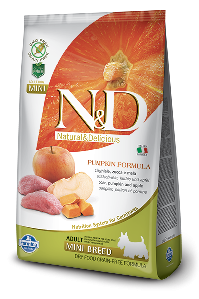 Farmina N&D Pumpkin Adult Mini  con Jabalí y Manzana 2.5 kg, 7 kg, 800 g