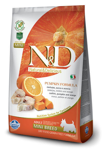 Farmina N&D Pumpkin Adult Mini mit Kabeljau und Orange 800 g