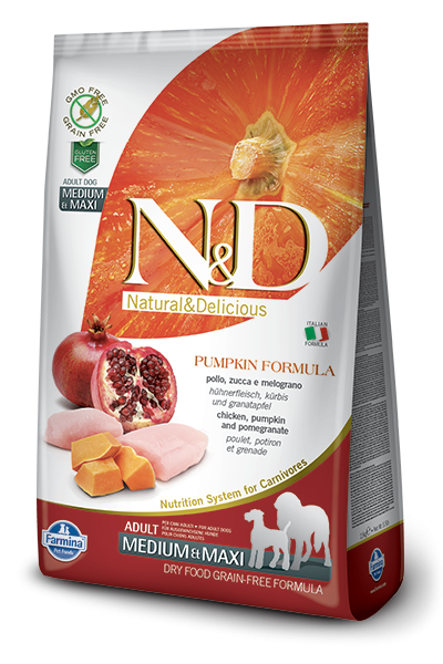Farmina N&D Pumpkin Chicken & Pomegranate Adult Medium & Maxi 2.5 kg 8010276033260 anmeldelser