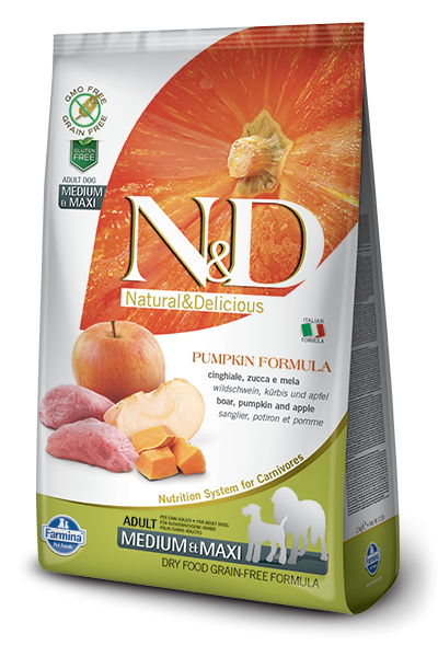 Farmina N&D Pumpkin Adult Medium & Maxi con Cinghiale e Mela 2.5 kg, 12 kg