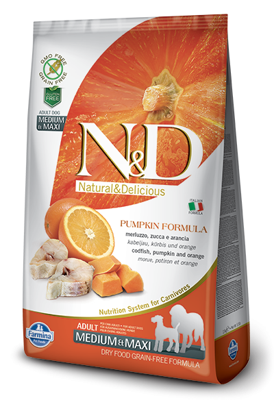 Farmina N&D Pumpkin Adult Medium & Maxi con Bacalao y Naranja 2.5 kg, 12 kg