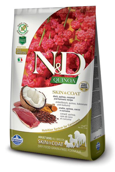 Farmina N&D Quinoa Skin & Coat Pato 800 g, 7 kg, 2.5 kg