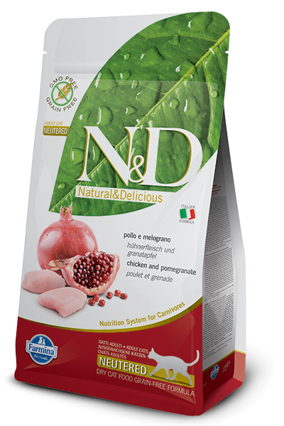 Farmina N&D Grain-Free Chicken & Pomegranate Neutered Adult 5 kg, 300 g, 1.5 kg osta edullisesti