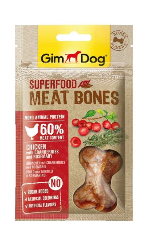 GimDog Superfood Meat Bones with Chicken, Cranberries and Rosemary 70 g