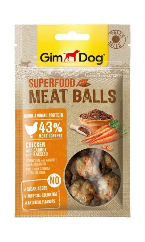 GimDog Superfood Meat Balls Chicken with Carrot and Flaxseed 70 g