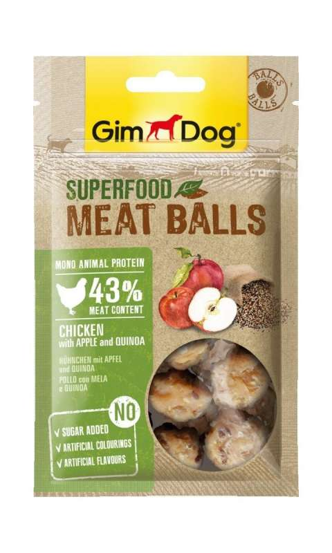 GimDog Superfood Meat Balls Chicken with Apple and Quinoa 70 g 4002064514802 erfaringer