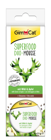 GimCat Superfood Duo-Mousse Gibier & Pomme 3x21 g