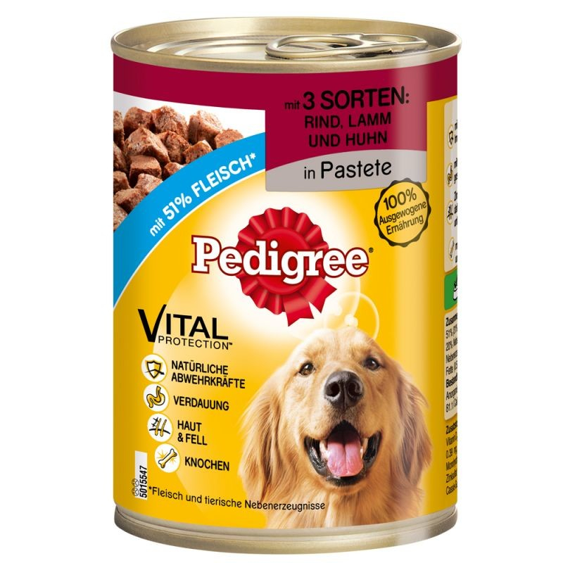 Pedigree Adult 3 Soorten Vlees in Pastei 800 g, 400 g