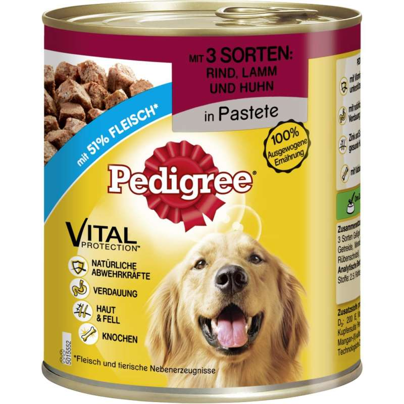 Pedigree Adult 3 Soorten Vlees in Pastei 800 g