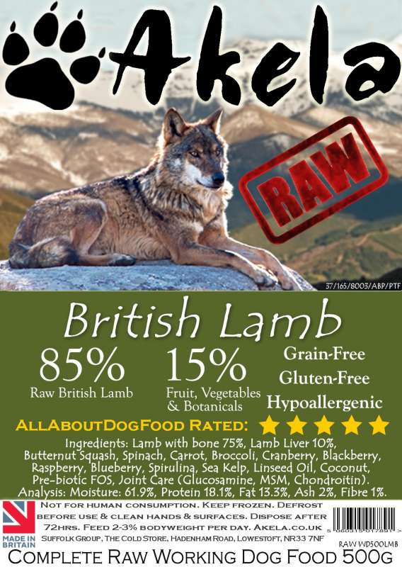 Frozen Raw Complete Working Dog Food Lamb from Akela 500 g buy online