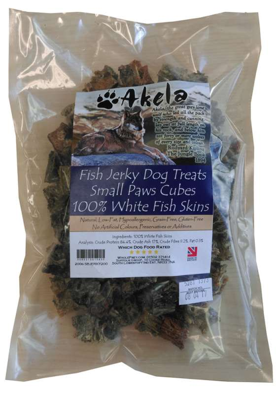 Akela Jerky Small Paws Cubes White Fish 200 g 5060315015835 ervaringen