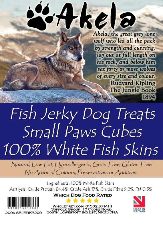 Akela Jerky Small Paws Cubes White Fish 200 g