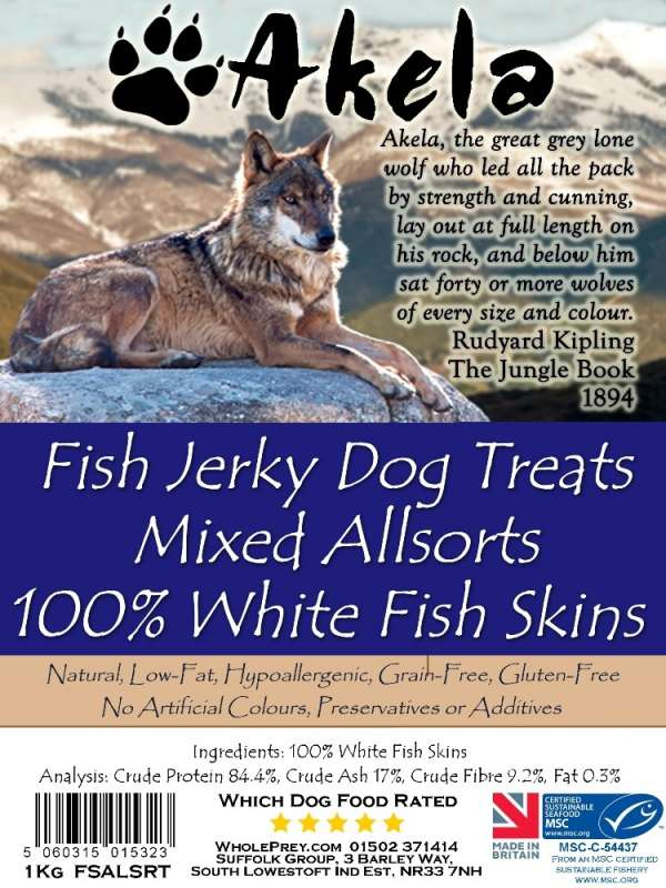 Akela Jerky Mixed Allsorts White Fish 1 kg