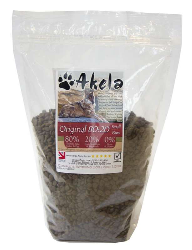 Akela Original Small Paws with Chicken, Herring, Turkey and Eggs 1.5 kg 5060315015293 anmeldelser
