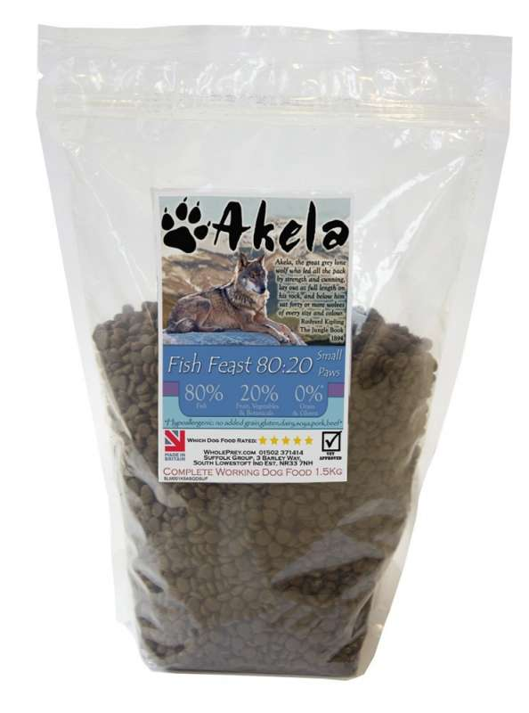 Akela Fish Feast Small Paws with Trout, Salmon and White Fish 5060315015538 erfarenheter