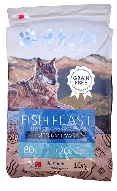 Akela Fish Feast Medium Paws with Trout, Salmon and White Fish 10 kg, 1.5 kg køb rimeligt og favoribelt med rabat