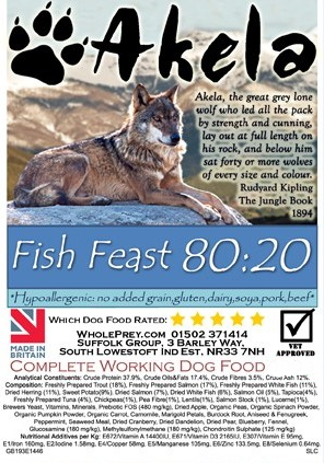 Akela Fish Feast Big Paws with Trout, Salmon and White Fish 10 kg, 1.5 kg kjøp billig med rabatt