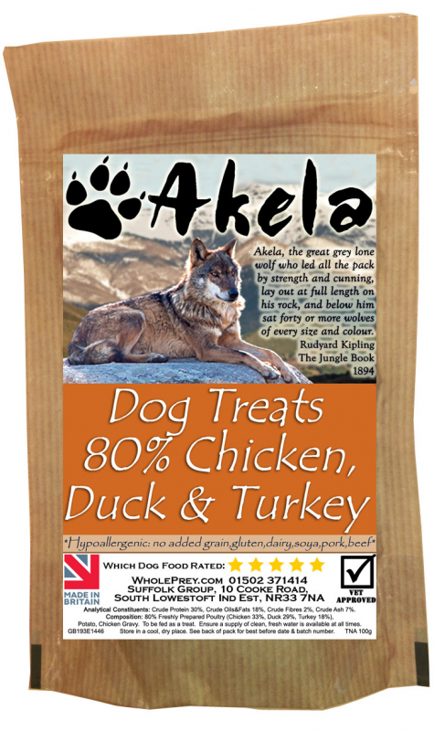 Akela Training Treats Chicken, Duck, Turkey 100 g, 500 g køb rimeligt og favoribelt med rabat