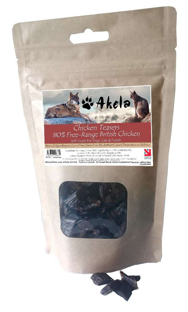 Chicken Teasers Free-Range British Chicken from Akela 100 g, 220 g, 500 g buy online