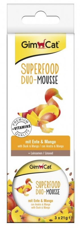 GimCat Superfood Duo-Mousse with Duck & Mango 3x21 g
