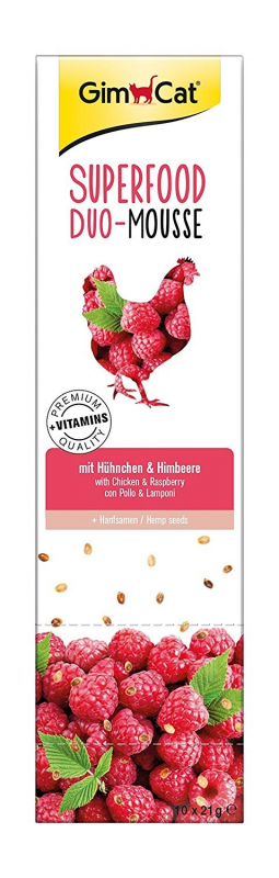 GimCat Superfood Duo-Mousse - Chicken & Raspberry 3x21 g 4002064414706 anmeldelser