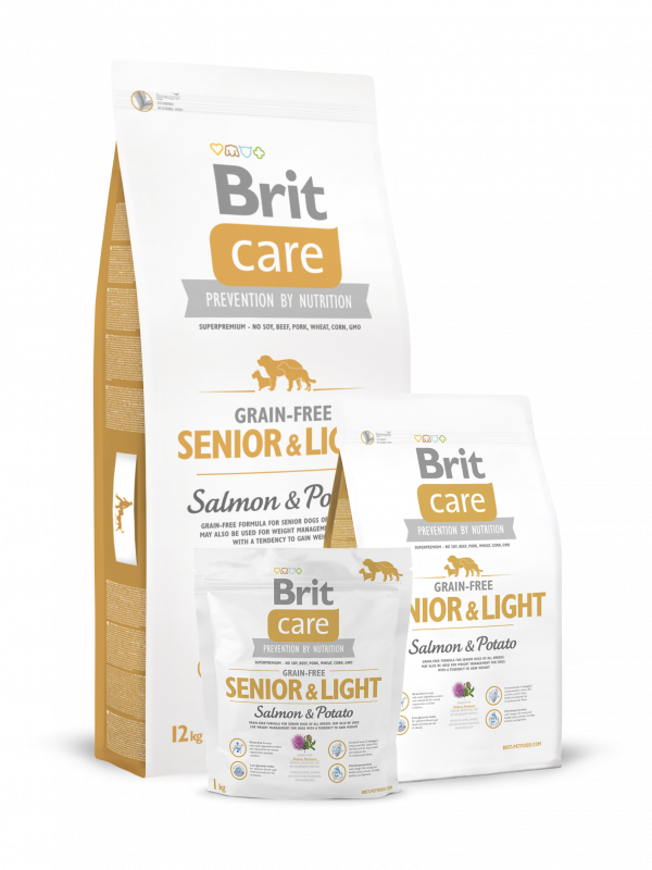 Brit Care Grain-free Senior&Light med Laks og Potet 3 kg, 12 kg, 1 kg
