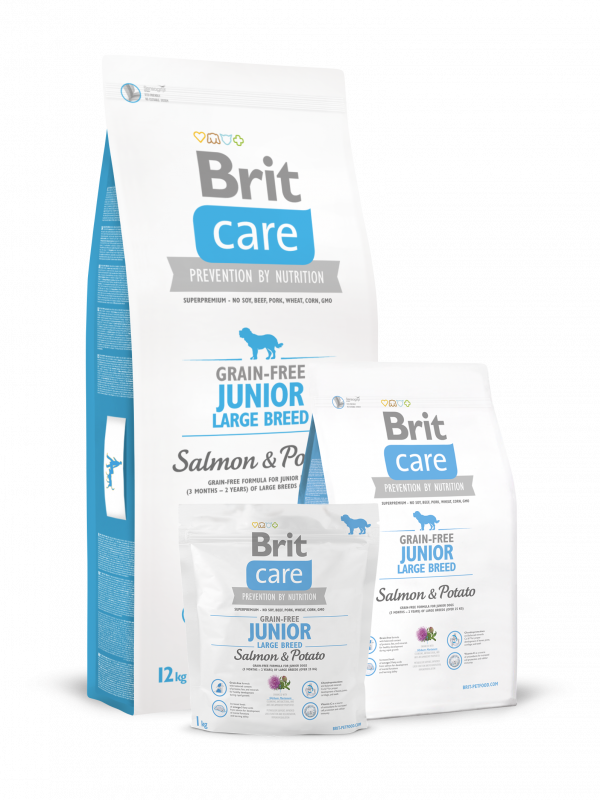 Brit Care Junior Large Breed Grain-free med Lax och Potatis 1 kg, 12 kg, 3 kg test