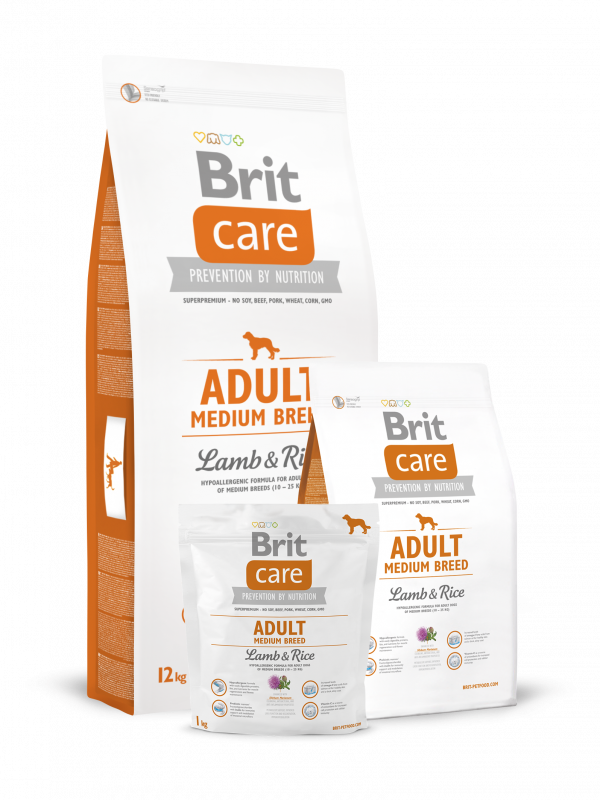 Brit Care Adult Medium Breed Lammasta & Riisiä 3 kg, 12 kg, 1 kg