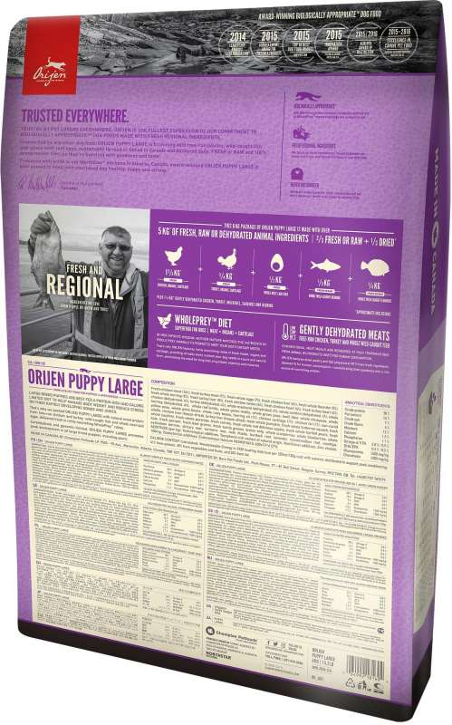 Orijen Puppy Large Whole Prey 11.4 kg, 6 kg test