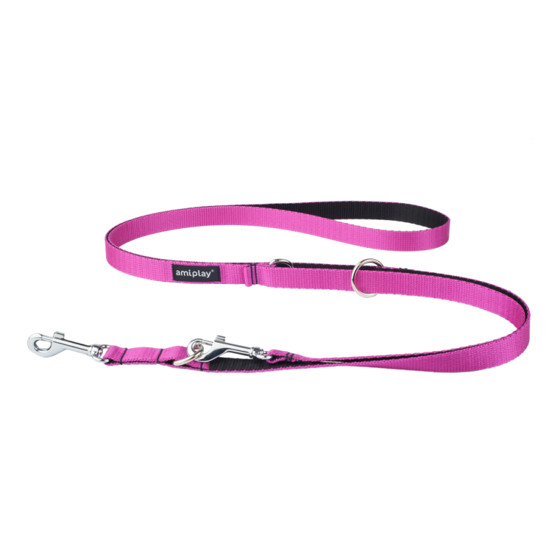 Amiplay Regulierbare Leine 6 in 1 Twist  Fuchsia L