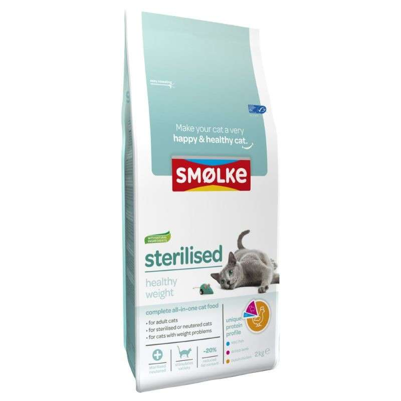 Smølke Sterilised Healthy Weight 4 kg, 2 kg