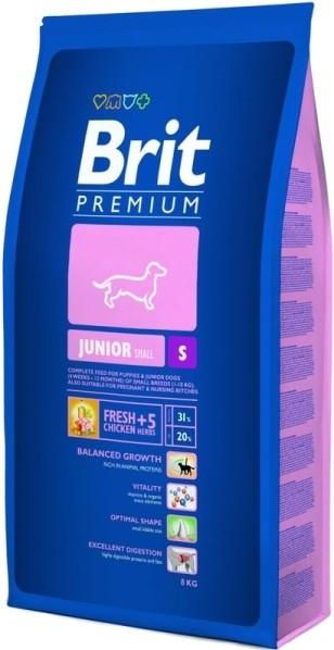 Brit Premium Junior S 8 kg, 3 kg, 1 kg