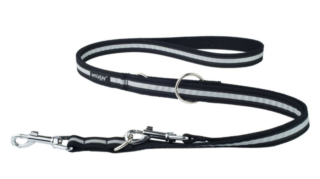 Amiplay Adjustable Leash 6 in 1 Cotton Shine  Black S order cheap
