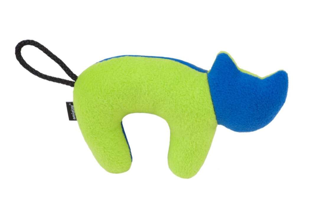 amiplay Plush Squeaky Cat  Neongrün 19x12 cm