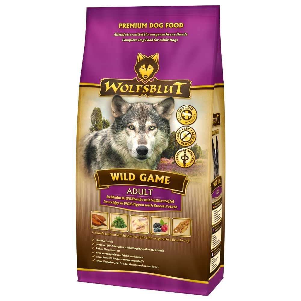 Wolfsblut Wild Game Adult with Partridge, Wild Pigeon and Sweet Potato 500 g, 2 kg, 15 kg