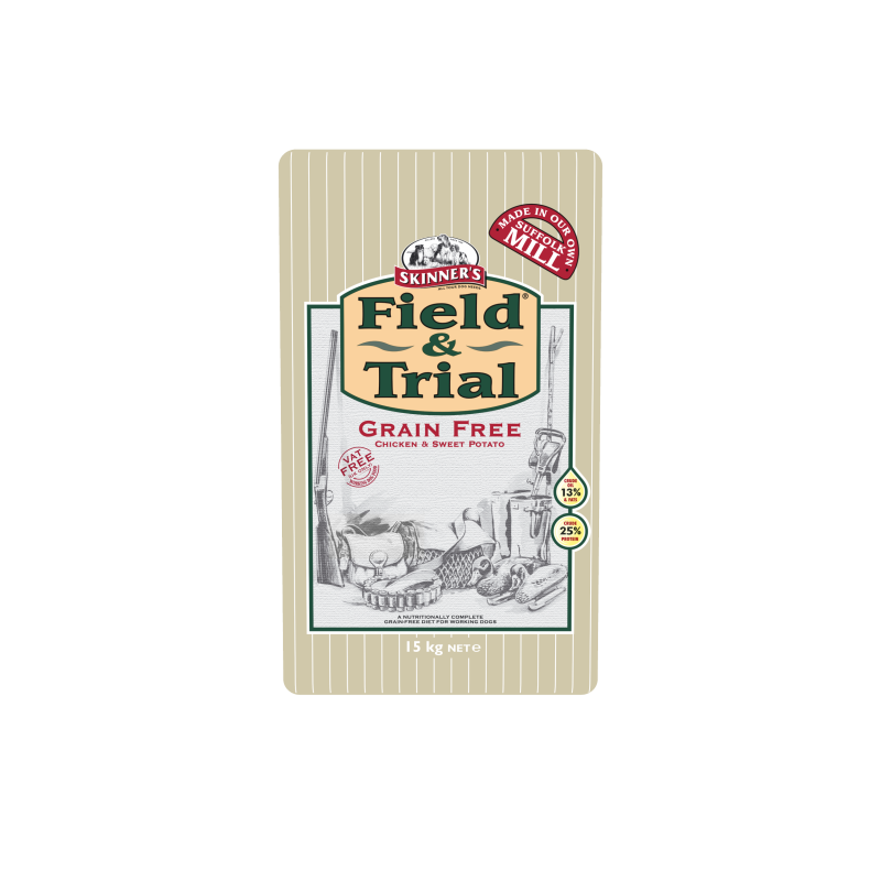 Skinner's Field & Trial Grain Free Chicken & Sweet Potato 15 kg 5021815000592 ervaringen